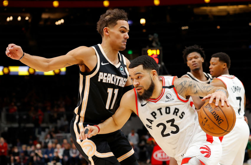 ATLANTA, GEORGIA - JANUARY 20: Fred VanVleet #23 of the Toronto Raptors drives against Trae Young #11 of the Atlanta Hawks in the first half at State Farm Arena on January 20, 2020 in Atlanta, Georgia. NOTE TO USER: User expressly acknowledges and agrees that, by downloading and/or using this photograph, user is consenting to the terms and conditions of the Getty Images License Agreement. (Photo by Kevin C. Cox/Getty Images)