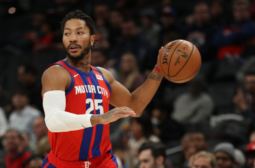 WASHINGTON, DC - JANUARY 20: Derrick Rose #25 of the Detroit Pistons in action against the Washington Wizards during the first half at Capital One Arena on January 20, 2020 in Washington, DC. NOTE TO USER: User expressly acknowledges and agrees that, by downloading and or using this photograph, User is consenting to the terms and conditions of the Getty Images License Agreement. (Photo by Patrick Smith/Getty Images)
