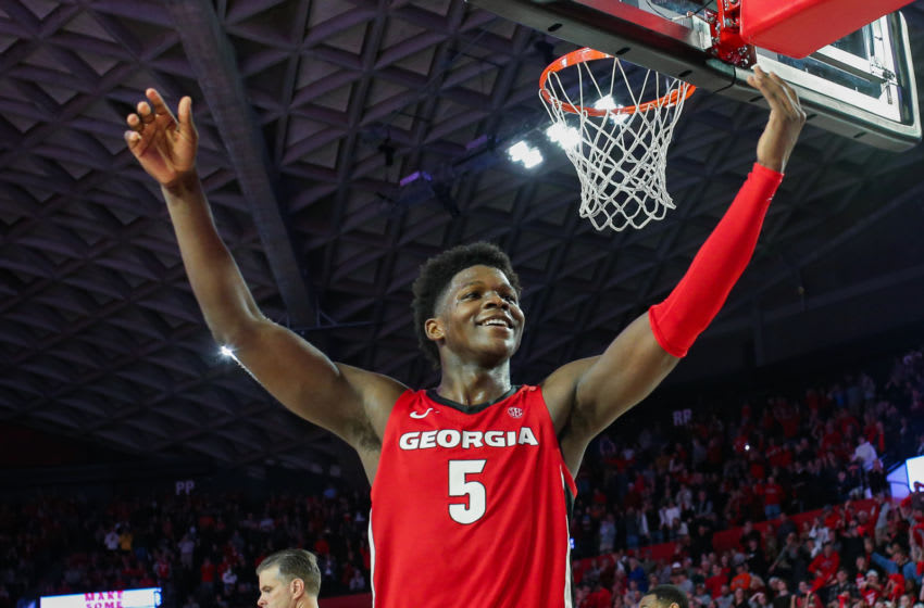ATHENS, GA - FEBRUARY 19: Anthony Edwards #5 of the Georgia Bulldogs gestures to the crowd in the final minutes a of a game against the Auburn Tigers at Stegeman Coliseum on February 19, 2020 in Athens, Georgia. (Photo by Carmen Mandato/Getty Images)