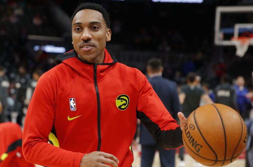 ATLANTA, GA - JANUARY 30: Jeff Teague #00 of the Atlanta Hawks warms up prior to an NBA game against the Philadelphia 76ers at State Farm Arena on January 30, 2020 in Atlanta, Georgia. NOTE TO USER: User expressly acknowledges and agrees that, by downloading and/or using this photograph, user is consenting to the terms and conditions of the Getty Images License Agreement. (Photo by Todd Kirkland/Getty Images)