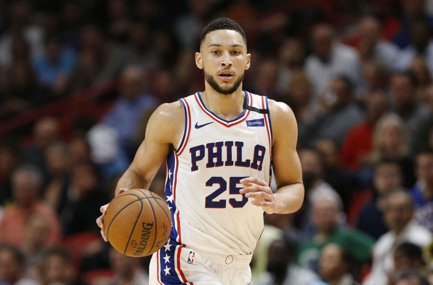 MIAMI, FLORIDA - FEBRUARY 03: Ben Simmons #25 of the Philadelphia 76ers in action against the Miami Heat during the first half at American Airlines Arena on February 03, 2020 in Miami, Florida. NOTE TO USER: User expressly acknowledges and agrees that, by downloading and/or using this photograph, user is consenting to the terms and conditions of the Getty Images License Agreement. (Photo by Michael Reaves/Getty Images)