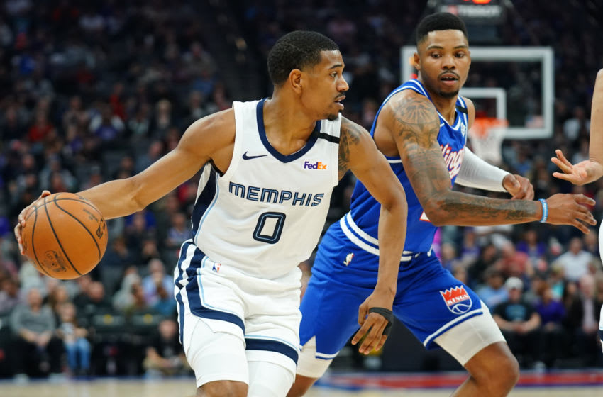 SACRAMENTO, CALIFORNIA - FEBRUARY 20: De'Anthony Melton #0 of the Memphis Grizzlies handles the ball during the first half against the Sacramento Kings at Golden 1 Center on February 20, 2020 in Sacramento, California. NOTE TO USER: User expressly acknowledges and agrees that, by downloading and/or using this photograph, user is consenting to the terms and conditions of the Getty Images License Agreement. (Photo by Daniel Shirey/Getty Images)
