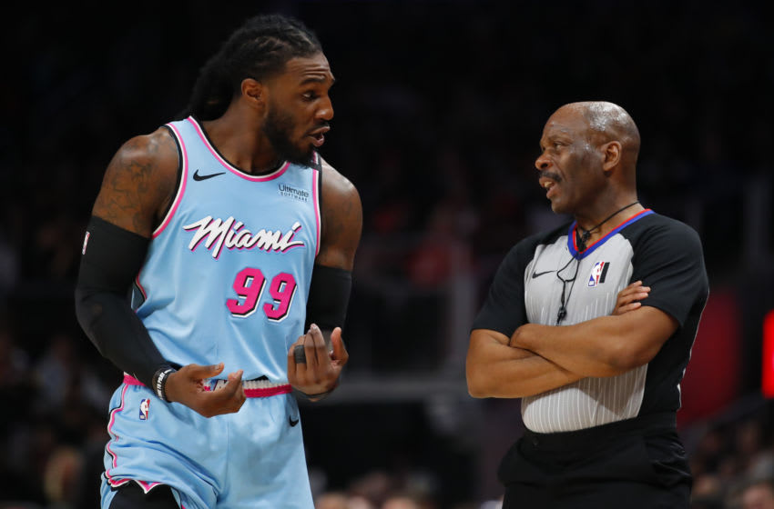 ATLANTA, GA - FEBRUARY 20: Jae Crowder #99 of the Miami Heat argues a call with a referee during the second half of an NBA game against the Atlanta Hawks at State Farm Arena on February 20, 2020 in Atlanta, Georgia. NOTE TO USER: User expressly acknowledges and agrees that, by downloading and/or using this photograph, user is consenting to the terms and conditions of the Getty Images License Agreement. (Photo by Todd Kirkland/Getty Images)
