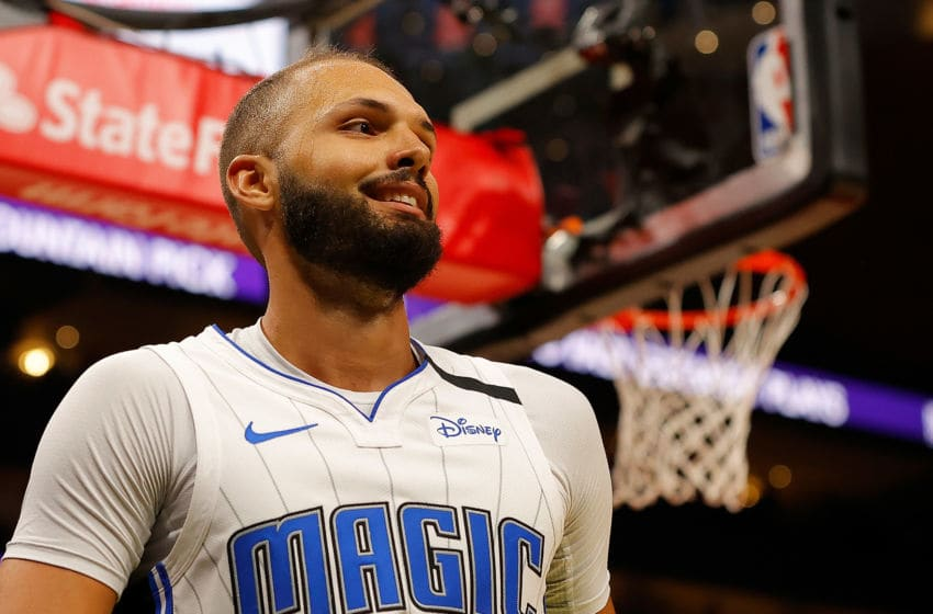 ATLANTA, GEORGIA - FEBRUARY 26: Evan Fournier #10 of the Orlando Magic reacts after drawing a foul against Cam Reddish #22 of the Atlanta Hawks in the second half at State Farm Arena on February 26, 2020 in Atlanta, Georgia. NOTE TO USER: User expressly acknowledges and agrees that, by downloading and/or using this photograph, user is consenting to the terms and conditions of the Getty Images License Agreement. (Photo by Kevin C. Cox/Getty Images)