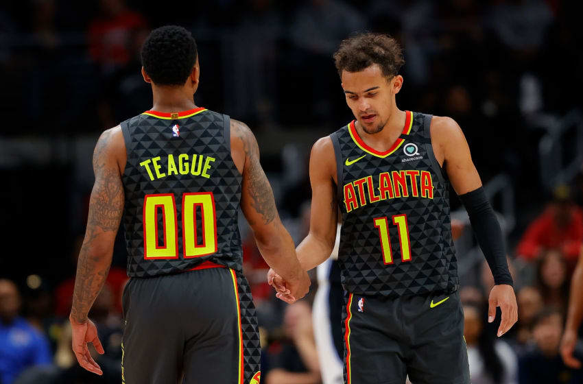 ATLANTA, GEORGIA - FEBRUARY 26: Trae Young #11 of the Atlanta Hawks reacts in the second half against the Orlando Magic with Jeff Teague #00 at State Farm Arena on February 26, 2020 in Atlanta, Georgia. NOTE TO USER: User expressly acknowledges and agrees that, by downloading and/or using this photograph, user is consenting to the terms and conditions of the Getty Images License Agreement. (Photo by Kevin C. Cox/Getty Images)