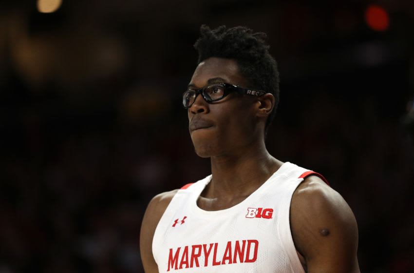 COLLEGE PARK, MARYLAND - FEBRUARY 29: Jalen Smith #25 of the Maryland Terrapins looks on against the Michigan State Spartans at Xfinity Center on February 29, 2020 in College Park, Maryland. (Photo by Patrick Smith/Getty Images)