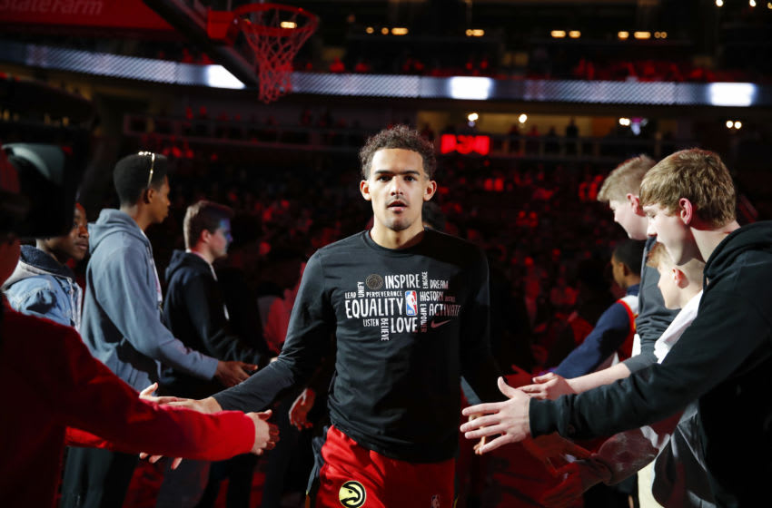 ATLANTA, GA - FEBRUARY 28: Trae Young #11 of the Atlanta Hawks is introduced prior to an NBA game against the Brooklyn Nets at State Farm Arena on February 28, 2020 in Atlanta, Georgia. NOTE TO USER: User expressly acknowledges and agrees that, by downloading and/or using this photograph, user is consenting to the terms and conditions of the Getty Images License Agreement. (Photo by Todd Kirkland/Getty Images)