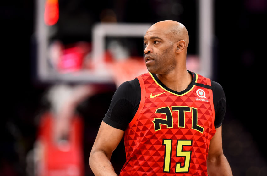 WASHINGTON, DC - MARCH 06: Vince Carter #15 of the Atlanta Hawks looks on against the Washington Wizards during the second half at Capital One Arena on March 06, 2020 in Washington, DC. NOTE TO USER: User expressly acknowledges and agrees that, by downloading and or using this photograph, User is consenting to the terms and conditions of the Getty Images License Agreement. (Photo by Will Newton/Getty Images)