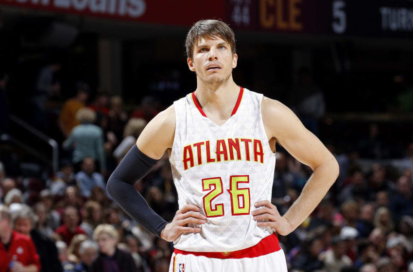 CLEVELAND, OH - NOVEMBER 21: Kyle Korver #26 of the Atlanta Hawks looks on during the game against the Cleveland Cavaliers on November 21, 2015 at Quicken Loans Arena in Cleveland, Ohio. NOTE TO USER: User expressly acknowledges and agrees that, by downloading and or using this Photograph, user is consenting to the terms and condition of the Getty Images License Agreement. (Photo by Rocky Widner/Getty Images)