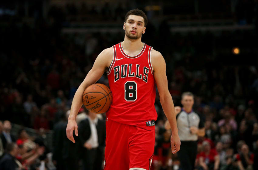 CHICAGO, IL - FEBRUARY 22: Zach LaVine #8 of the Chicago Bulls walks across the court in the fourth quarter against the Philadelphia 76ers at the United Center on February 22, 2018 in Chicago, Illinois. NOTE TO USER: User expressly acknowledges and agrees that, by downloading and or using this photograph, User is consenting to the terms and conditions of the Getty Images License Agreement. (Dylan Buell/Getty Images)