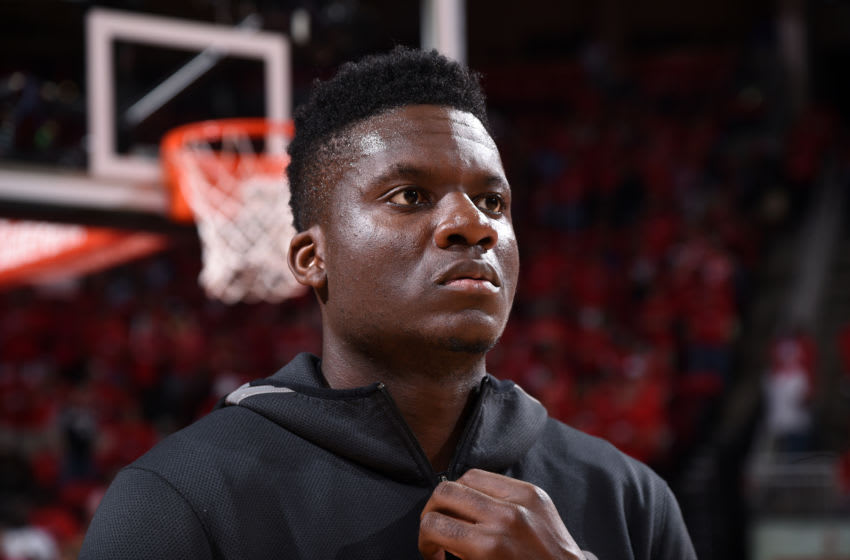 HOUSTON, TX - MAY 16: Clint Capela #15 of the Houston Rockets before the game against the Golden State Warriors in Game Two of the Western Conference Finals of the 2018 NBA Playoffs on May 16, 2018 at the Toyota Center in Houston, Texas. NOTE TO USER: User expressly acknowledges and agrees that, by downloading and or using this photograph, User is consenting to the terms and conditions of the Getty Images License Agreement. Mandatory Copyright Notice: Copyright 2018 NBAE (Photo by Bill Baptist/NBAE via Getty Images)