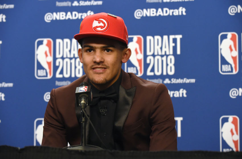 BROOKLYN, NY - JUNE 21: Trae Young speaks to the media after being selected fifth overall at the 2018 NBA Draft on June 21, 2018 at the Barclays Center in Brooklyn, New York. NOTE TO USER: User expressly acknowledges and agrees that, by downloading and/or using this photograph, user is consenting to the terms and conditions of the Getty Images License Agreement. Mandatory Copyright Notice: Copyright 2018 NBAE (Photo by Kostas Lymperopoulos/NBAE via Getty Images)