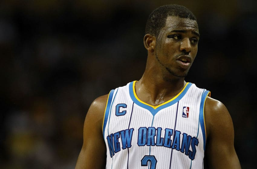 NEW ORLEANS, LA - APRIL 24: Chris Paul #3 of the New Orleans Hornets reacts to a call during a game with the Los Angeles Lakers in Game Four of the Western Conference Quarterfinals in the 2011 NBA Playoffs at New Orleans Arena on April 24, 2011 in New Orleans, Louisiana. NOTE TO USER: User expressly acknowledges and agrees that, by downloading and or using this Photograph, user is consenting to the terms and conditions of the Getty Images License Agreement. (Photo by Jeff Zelevansky/Getty Images)