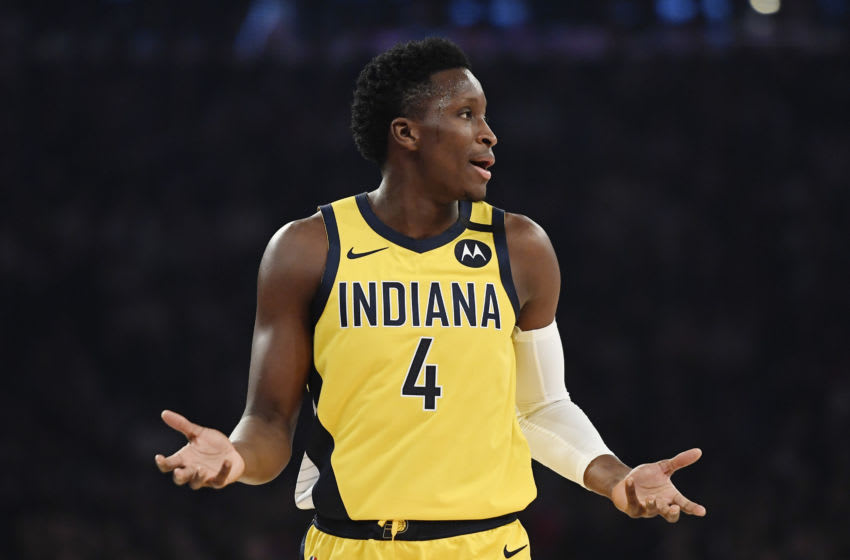 NEW YORK, NEW YORK - FEBRUARY 21: Victor Oladipo #4 of the Indiana Pacers reacts during the first half against the New York Knicks at Madison Square Garden on February 21, 2020 in New York City. NOTE TO USER: User expressly acknowledges and agrees that, by downloading and or using this photograph, User is consenting to the terms and conditions of the Getty Images License Agreement. (Photo by Sarah Stier/Getty Images)