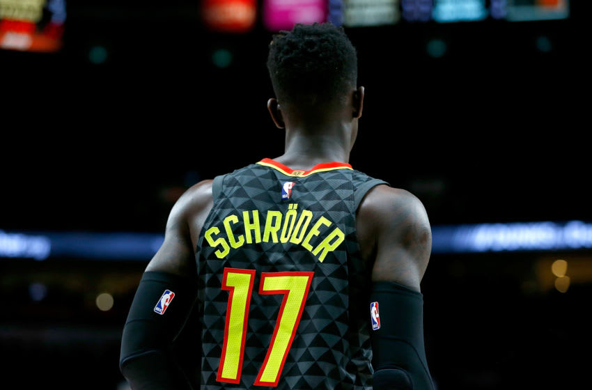 PORTLAND, OR - JANUARY 05: Dennis Schroder #17 of the Atlanta Hawks in action against the Portland Trail Blazers at Moda Center on January 5, 2018 in Portland, Oregon. NOTE TO USER: User expressly acknowledges and agrees that, by downloading and or using this photograph, User is consenting to the terms and conditions of the Getty Images License Agreement. (Photo by Jonathan Ferrey/Getty Images)