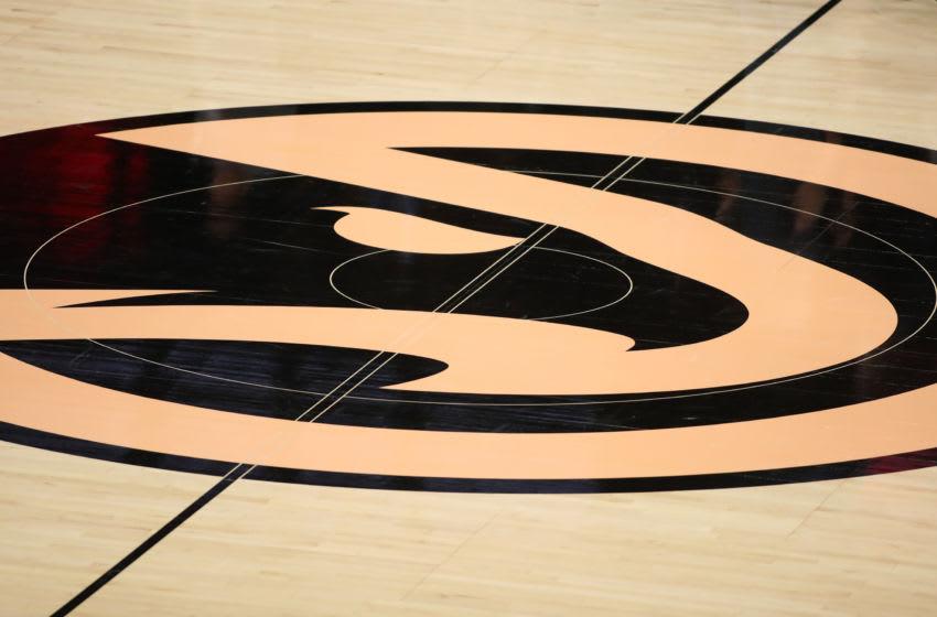 Nov 20, 2019; Atlanta, GA, USA; A general view of the Atlanta Hawks logo at midcourt before a game between the Hawks and the Milwaukee Bucks at State Farm Arena. Mandatory Credit: Jason Getz-USA TODAY Sports