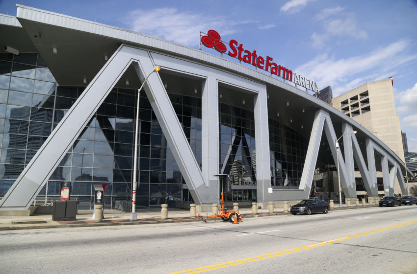 Mar 14, 2020; Atlanta, Georgia, USA; General view of State Farm Arena where a game between the Cleveland Cavaliers and Atlanta Hawks was cancelled after the NBA season was suspended due to the COVID-19 Coronavirus. Mandatory Credit: Brett Davis-USA TODAY Sports