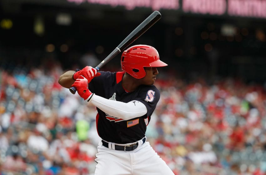 WASHINGTON, DC - JULY 15: Kyle Lewis #2 of the Seattle Mariners and the U.S. Team bats against the World Team during the SiriusXM All-Star Futures Game at Nationals Park on July 15, 2018 in Washington, DC. (Photo by Patrick McDermott/Getty Images)