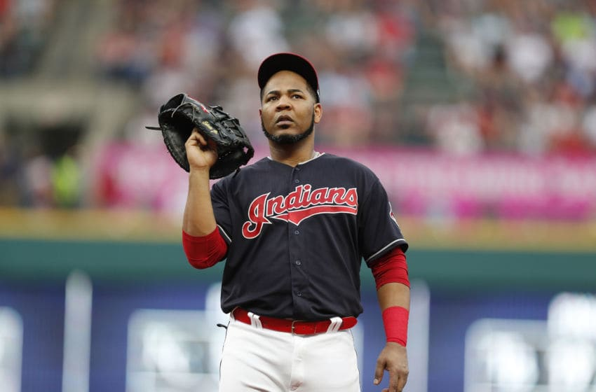 CLEVELAND, OH - JULY 14: Edwin Encarnacion #10 of the Cleveland Indians stands at first base against the New York Yankees in the fourth inning at Progressive Field on July 14, 2018 in Cleveland, Ohio. The Yankees defeated the Indians 5-4. (Photo by David Maxwell/Getty Images)