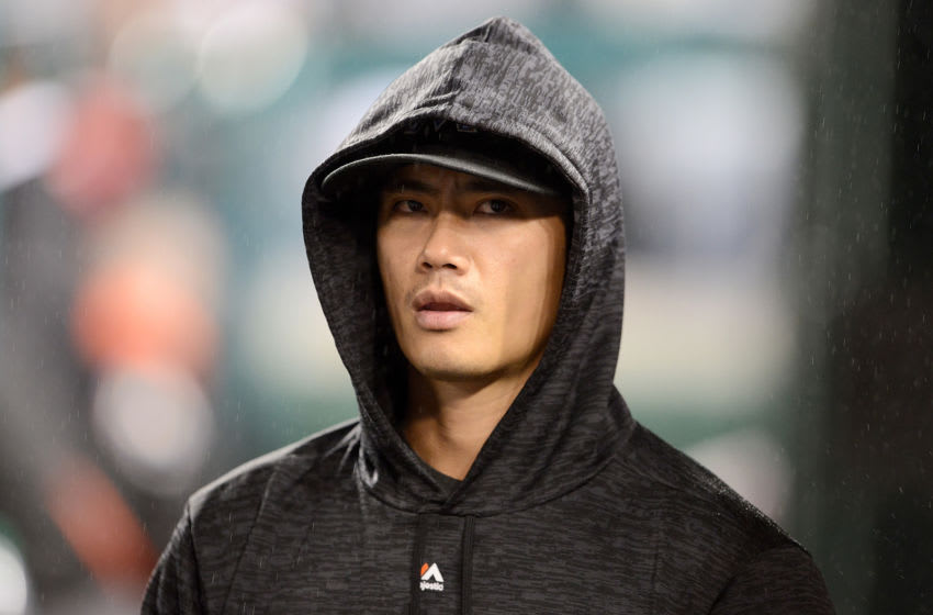 WASHINGTON, DC - SEPTEMBER 24: Wei-Yin Chen #54 of the Miami Marlins watches the game in the seventh inning against the Washington Nationals at Nationals Park on September 24, 2018 in Washington, DC. (Photo by Greg Fiume/Getty Images)