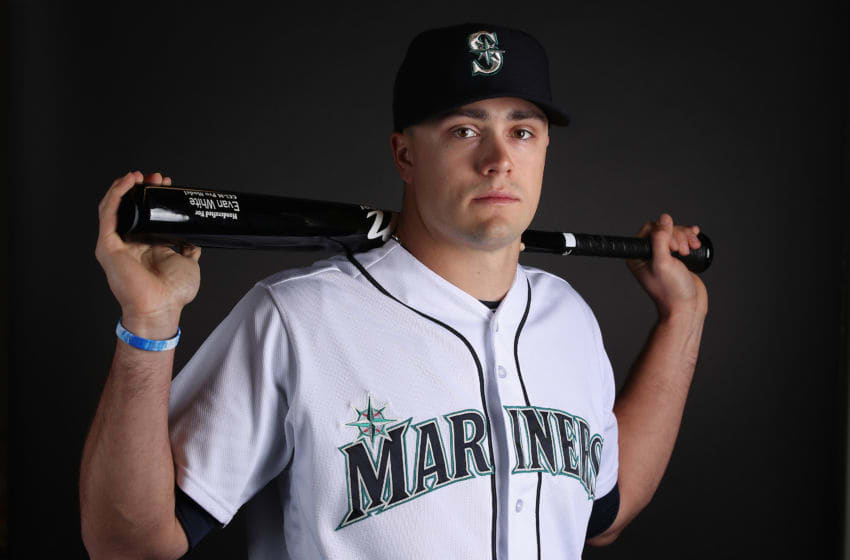 PEORIA, ARIZONA - FEBRUARY 18: Evan White #63 of the Seattle Mariners poses for a portrait during photo day at Peoria Stadium on February 18, 2019 in Peoria, Arizona. (Photo by Christian Petersen/Getty Images)