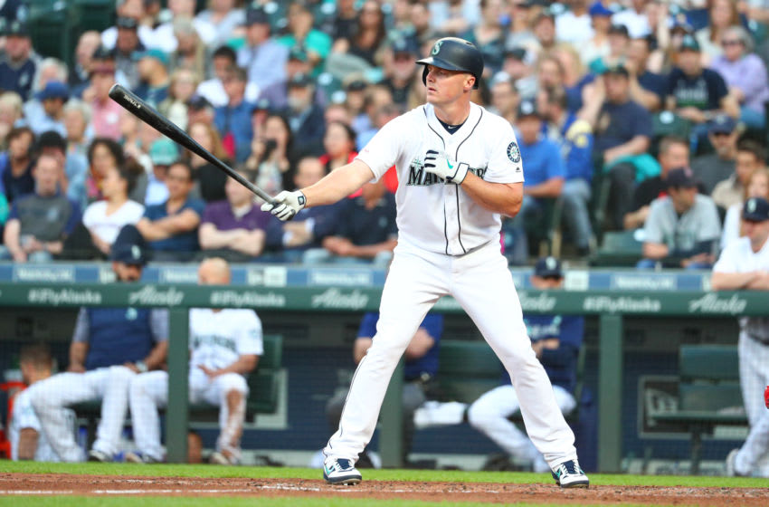 SEATTLE, WASHINGTON - MAY 30: Jay Bruce #32 of the Seattle Mariners looks on. (Photo by Abbie Parr/Getty Images)