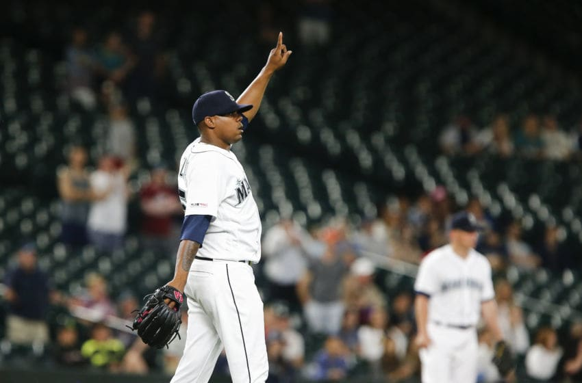SEATTLE, WA - JULY 22: Roenis Elias #55 of the Seattle Mariners points as he gets the save against the Texas Rangers at T-Mobile Park on July 22, 2019 in Seattle, Washington. The Seattle Mariners won, 7-3. (Photo by Lindsey Wasson/Getty Images)