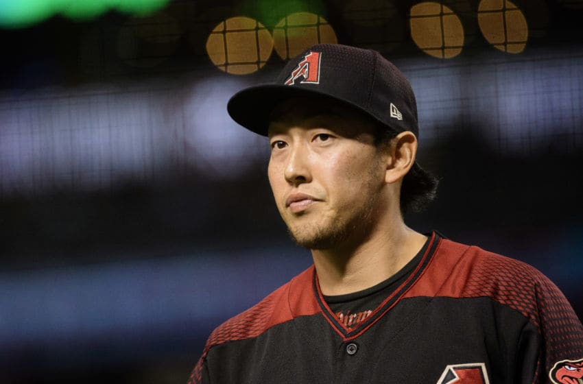 PHOENIX, ARIZONA - JUNE 22: Yoshihisa Hirano #66 of the Arizona Diamondbacks reacts after pitching the seventh inning of the MLB game against the San Francisco Giants at Chase Field on June 22, 2019 in Phoenix, Arizona. (Photo by Jennifer Stewart/Getty Images)