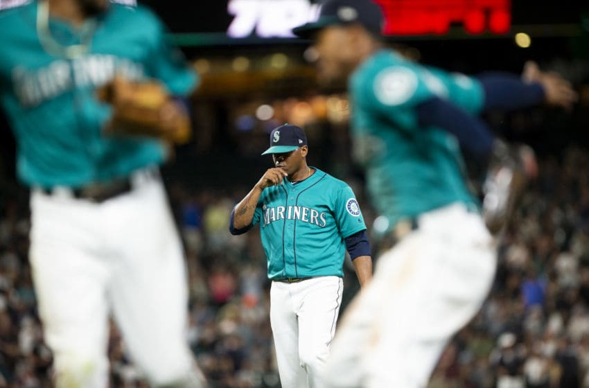 SEATTLE, WA - JULY 26: Roenis Elias #55 of the Seattle Mariners walks off the field after the final out of the top of the ninth inning against the Detroit Tigers at T-Mobile Park on July 26, 2019 in Seattle, Washington. The Mariners beat the Tigers 3-2. (Photo by Lindsey Wasson/Getty Images)