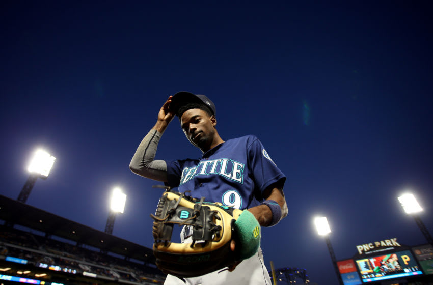 PITTSBURGH, PA - SEPTEMBER 17: Dee Gordon #9 of the Seattle Mariners walks off the field against the Pittsburgh Pirates during inter-league play at PNC Park on September 17, 2019 in Pittsburgh, Pennsylvania. (Photo by Justin K. Aller/Getty Images)