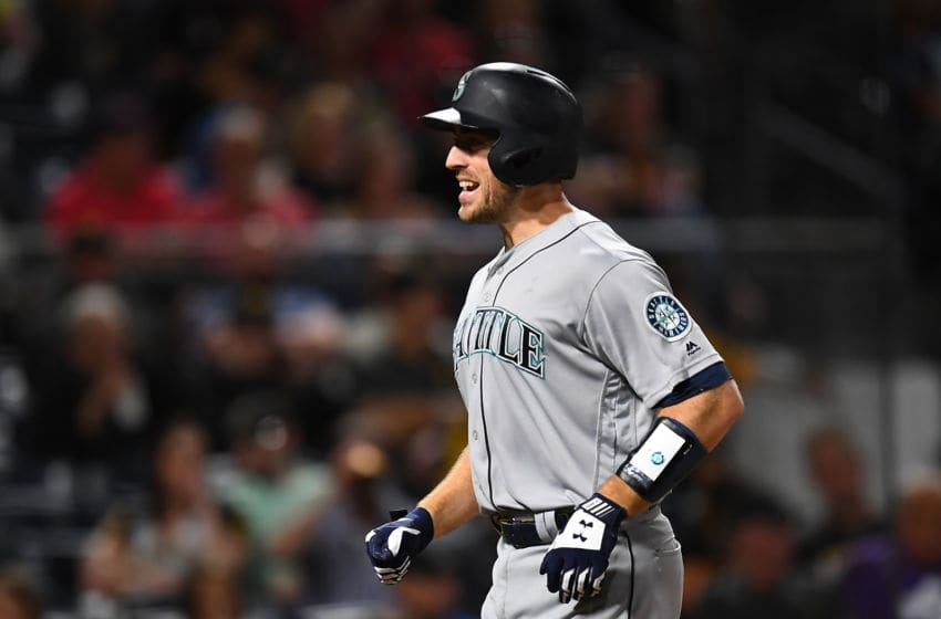 PITTSBURGH, PA - SEPTEMBER 18: Tom Murphy #2 of the Seattle Mariners celebrates after hitting a solo home run during the fourth inning against the Pittsburgh Pirates at PNC Park on September 18, 2019 in Pittsburgh, Pennsylvania. (Photo by Joe Sargent/Getty Images)