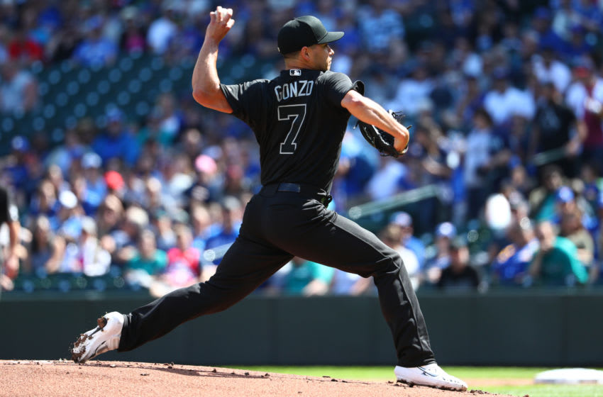 SEATTLE, WASHINGTON - AUGUST 25: Marco Gonzales, former Cardinals pitcher, of the Seattle Mariners pitches against the Toronto Blue Jays. (Photo by Abbie Parr/Getty Images)