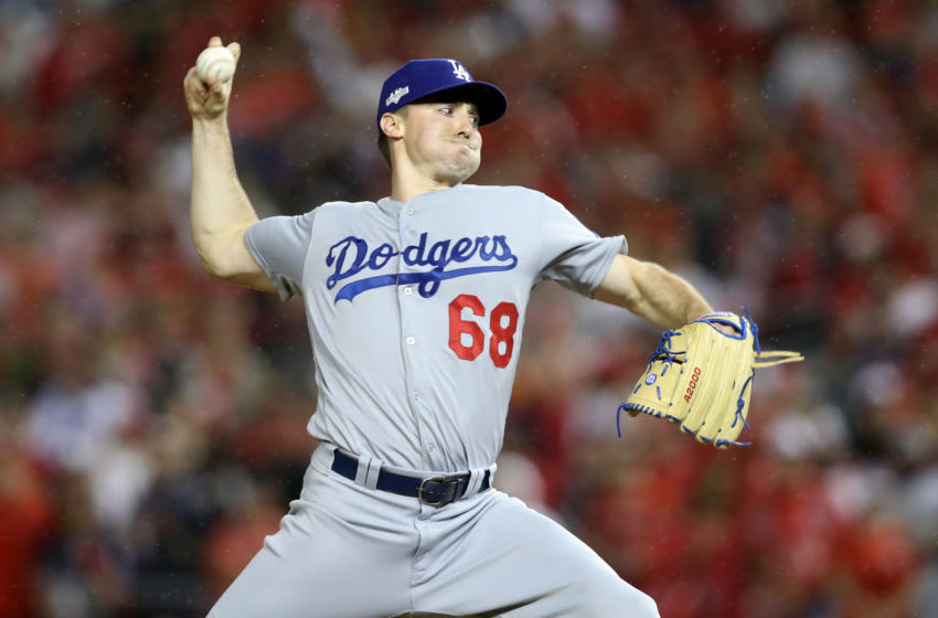 WASHINGTON, DC - OCTOBER 07: Ross Stripling #68 of the Los Angeles Dodgers delivers against the Washington Nationals in the sixth inning of game four of the National League Division Series at Nationals Park on October 07, 2019 in Washington, DC. (Photo by Rob Carr/Getty Images)