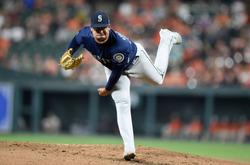 BALTIMORE, MD - SEPTEMBER 21: Justus Sheffield #33 of the Seattle Mariners pitches against the Baltimore Orioles at Oriole Park at Camden Yards on September 21, 2019 in Baltimore, Maryland. (Photo by G Fiume/Getty Images)