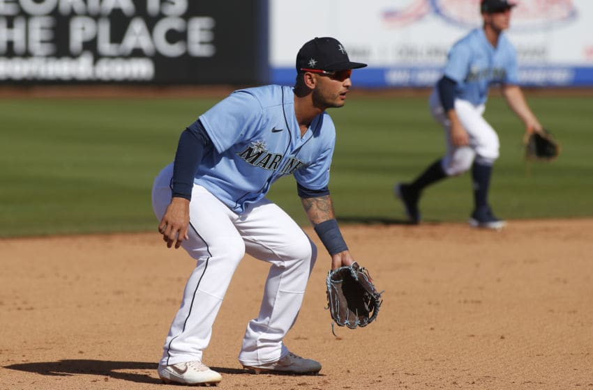 PEORIA, ARIZONA - MARCH 05: Tim Lopes #10 of the Seattle Mariners during a Cactus League spring training baseball game against the San Diego Padres at Peoria Stadium on March 05, 2020 in Peoria, Arizona. (Photo by Ralph Freso/Getty Images)