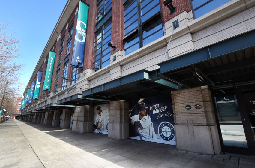 SEATTLE, WASHINGTON - MARCH 15: A general view of the empty streets along T-Mobile Park on March 15, 2020 in Seattle, Washington. Major League Baseball cancelled spring training games and has delayed opening day by at least two weeks due to the coronavirus (COVID-19) outbreak. (Photo by Abbie Parr/Getty Images)