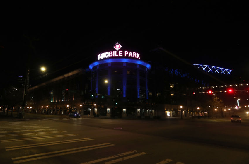 SEATTLE- WA, - APRIL 9: T-Mobile Park is lit up in blue to honor essential workers during the coronavirus (COVID-19) outbreak on April 09, 2020 in Seattle, Washington. Landmarks and buildings across the nation are displaying blue lights to show support for health care workers and first responders on the front lines of the COVID-19 pandemic. (Photo by Abbie Parr/Getty Images)