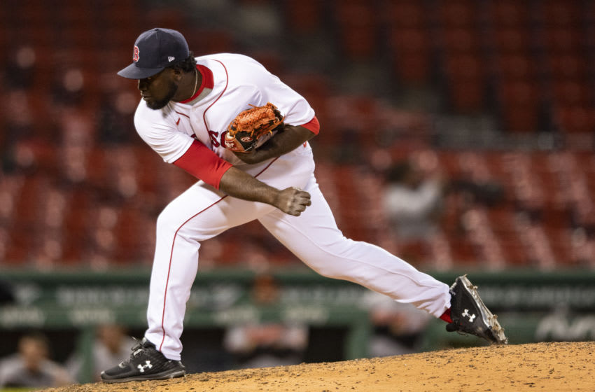 Domingo Tapia of the Boston Red Sox delivers during a game against the Baltimore Orioles at Fenway Park. (Photo by Billie Weiss/Boston Red Sox/Getty Images)