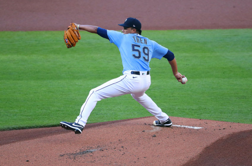 SEATTLE, WASHINGTON - JULY 19: Juan Then, a Mariners prospect, pitches. (Photo by Abbie Parr/Getty Images)