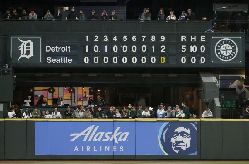 SEATTLE, WASHINGTON - MAY 18: The scoreboard is seen from a no-hitter thrown by pitcher Spencer Turnbull #56 of the Detroit Tigers against the Seattle Mariners at T-Mobile Park on May 18, 2021 in Seattle, Washington. The Detroit Tigers beat the Seattle Mariners 5-0. (Photo by Steph Chambers/Getty Images)