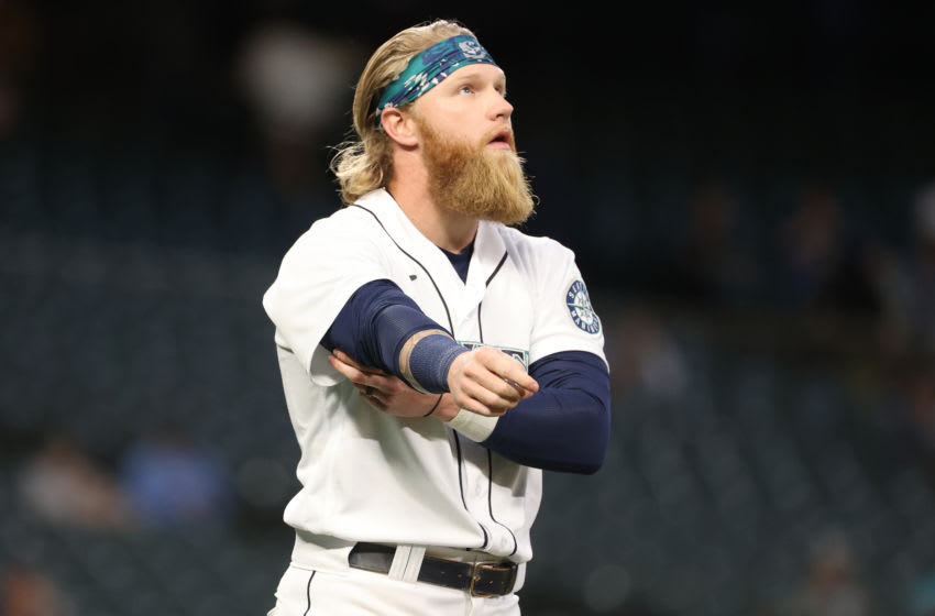 SEATTLE, WASHINGTON - JUNE 16: Jake Fraley #28 of the Seattle Mariners reacts after striking out to end the sixth inning against the Minnesota Twins at T-Mobile Park on June 16, 2021 in Seattle, Washington. (Photo by Abbie Parr/Getty Images)
