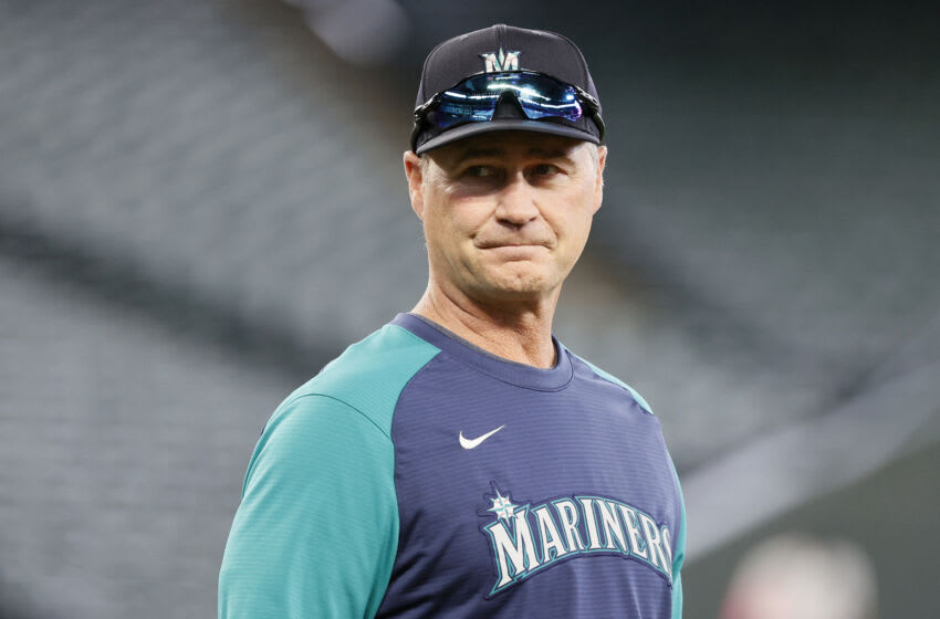 SEATTLE, WASHINGTON - JUNE 15: Manager Scott Servais #9 of the Seattle Mariners looks on before the game against the Minnesota Twins at T-Mobile Park on June 15, 2021 in Seattle, Washington. (Photo by Steph Chambers/Getty Images)