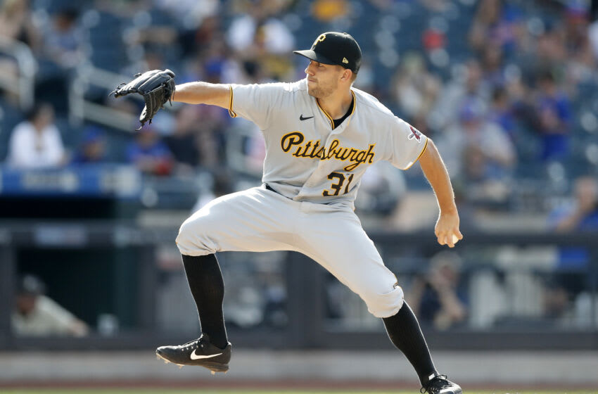 NEW YORK, NEW YORK - JULY 10: (NEW YORK DAILIES OUT) Tyler Anderson #31 of the Pittsburgh Pirates in action against the New York Mets at Citi Field on July 10, 2021 in New York City. The Pirates defeated the Mets 6-2. (Photo by Jim McIsaac/Getty Images)