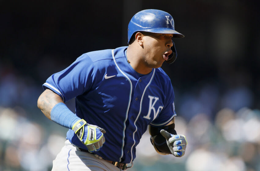 SEATTLE, WASHINGTON - AUGUST 29: Salvador Perez #13 of the Kansas City Royals reacts after his home run during the sixth inning against the Seattle Mariners at T-Mobile Park on August 29, 2021 in Seattle, Washington. (Photo by Steph Chambers/Getty Images)