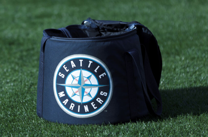OAKLAND, CA - APRIL 03: Detailed view of a Seattle Mariners logo baseball bag on the field before the game against the Oakland Athletics at O.co Coliseum on April 3, 2014 in Oakland, California. The Oakland Athletics defeated the Seattle Mariners 3-2 in 12 innings. (Photo by Jason O. Watson/Getty Images)