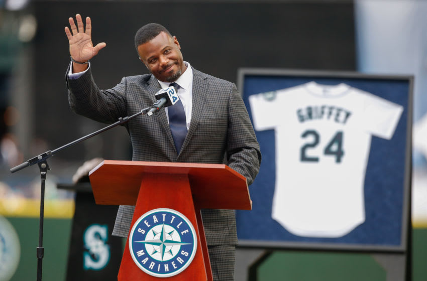 SEATTLE, WA - AUGUST 06: Former Mariner Ken Griffey Jr. waves to the crowd during a jersey retirement ceremony prior to the game between the Seattle Mariners and the Los Angeles Angels of Anaheim at Safeco Field on August 6, 2016 in Seattle, Washington. (Photo by Otto Greule Jr/Getty Images)