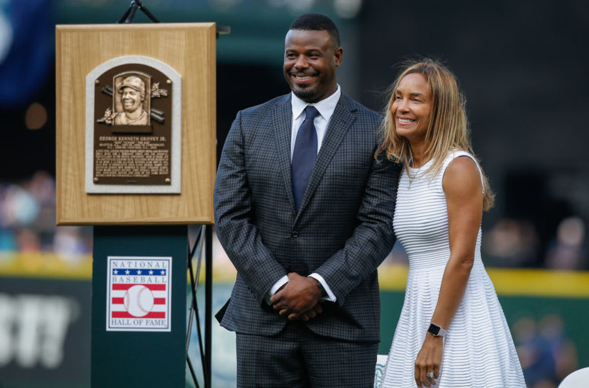 SEATTLE, WA - AUGUST 06: Seattle Mariners Hall of Famer Ken Griffey Jr. and his wife at his jersey ceremony. They join the Seattle Sounders ownership. (Photo by Otto Greule Jr/Getty Images)