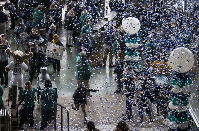 SEATTLE, WA - MARCH 29: As confetti rains down, fans make their way into the stadium before a game on opening day between the Cleveland Indians and the Seattle Mariners at Safeco Field on March 29, 2018 in Seattle, Washington. (Photo by Stephen Brashear/Getty Images)