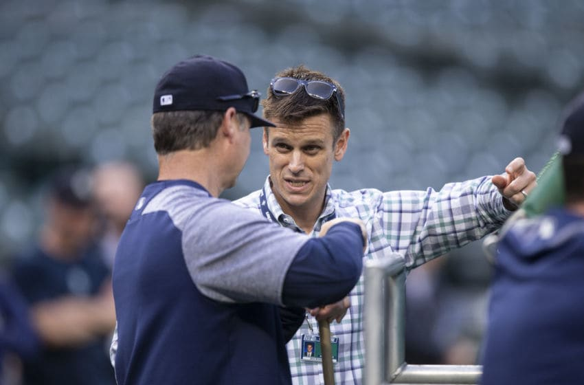 SEATTLE, WA - MAY 3: Seattle Mariners general manager Jerry Dipoto (R) talks with manager Scott Servais before a game between the Oakland Athletics and the Seattle Mariners at Safeco Field on May 3, 2018 in Seattle, Washington. The Mariners won the game 4-1. (Photo by Stephen Brashear/Getty Images)