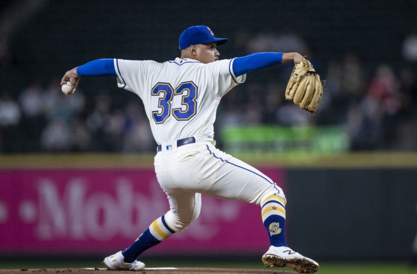 SEATTLE, WA - SEPTEMBER 15: Starter Justus Sheffield #33 of the Seattle Mariners delivers a pitch during the first inning of a game against the Chicago White Sox at T-Mobile Park on September 15, 2019 in Seattle, Washington. (Photo by Stephen Brashear/Getty Images)
